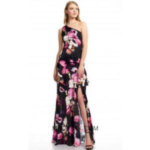 THEIA COUTURE black floral ruffle gown dress 2